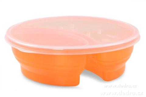 DA83573-Duobox 700ml + 300ml dóza na potraviny oranžový guľatý