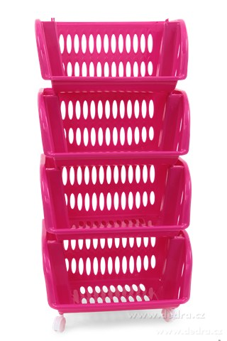 DA83761-4 poschodový plastový regál na kolieskach fuchsiovej / pink