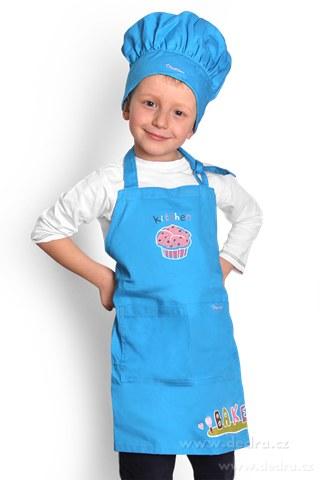 DA10039-Sada malý šéfkuchár zástera a čiapky modrá