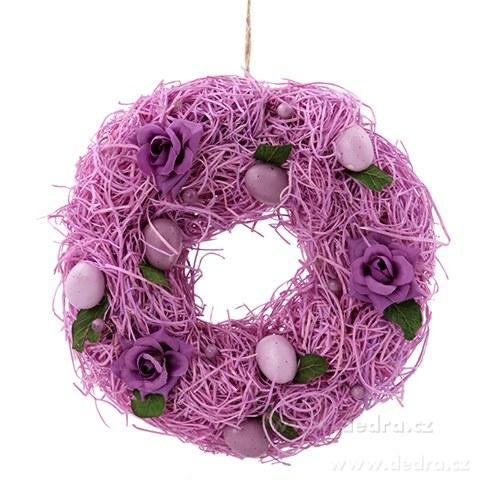 DA84523-20 cm dekoratívne veniec vo fialových tónoch prútia, kvety, vajíčka