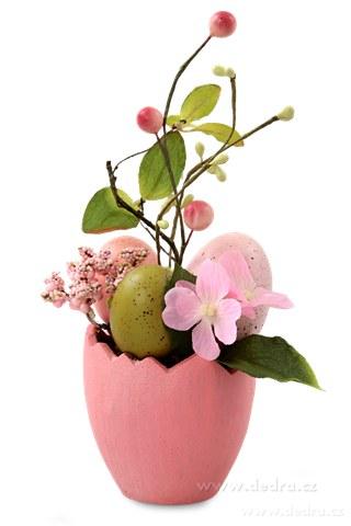 DA84562-Kvetináč s vajíčkami veľkonočné dekorácie ružový