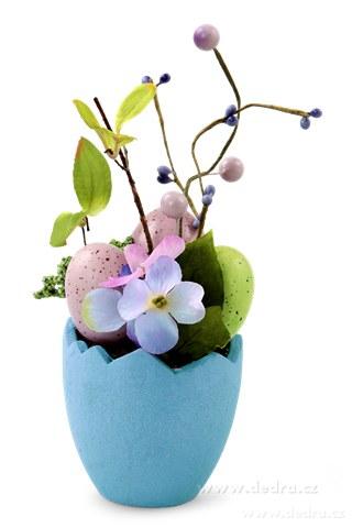 DA84563-Kvetináč s vajíčkami veľkonočné dekorácie modrý