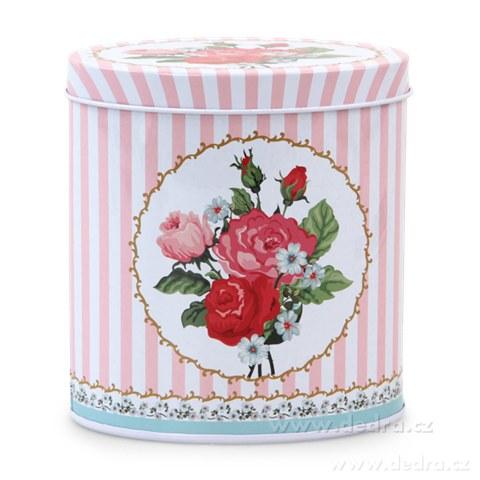 DA82242-Vysoká oválna dóza ROSE & BUTTERFLY ružová 11x8x12 cm