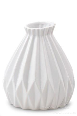 DA10112-Dekoratívna váza keramická reliéfne prírodná biela
