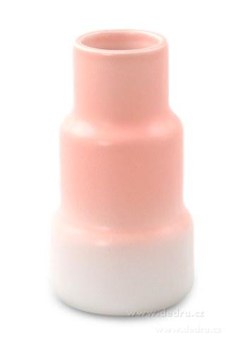 DA10122-Keramická váza stupňovitého tvaru pastelovo ružová