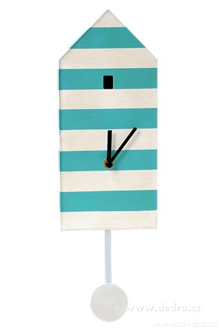 DA10191-DOMČEK drevené hodiny pruhované s kyvadlom
